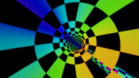 rainbow checkboard tunnel Stock Video Footage