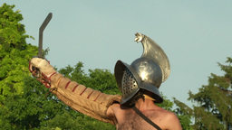 gladiator close up Murmillo Stock Video Footage