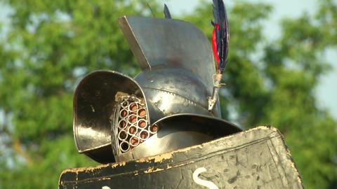 gladiator close up Thraex 01 Stock Video Footage