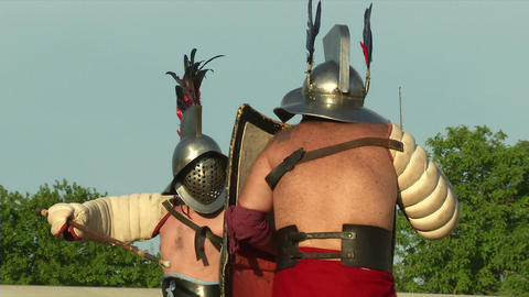 gladiator game Hoplomachus Thraex 03 Stock Video Footage