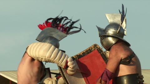 gladiator game Hoplomachus Thraex 14 Stock Video Footage