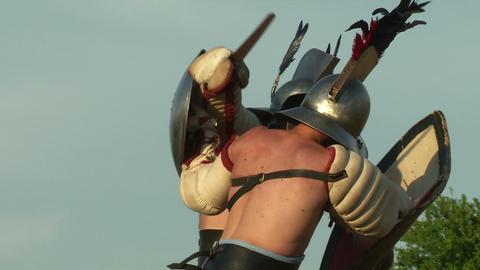 gladiator game Hoplomachus Thraex 18 Stock Video Footage