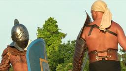 gladiator game Retiarius Secutor 01 Stock Video Footage