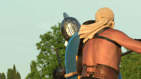gladiator game Retiarius Secutor 05 Stock Video Footage