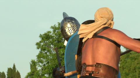gladiator game Retiarius Secutor 05 Stock Video Footage
