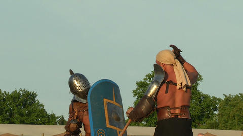 gladiator game Retiarius Secutor 07 Stock Video Footage