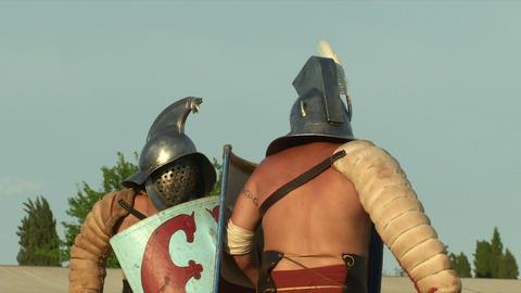 gladiator game Thraex Murmillo 05 Stock Video Footage