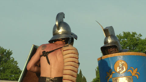 gladiator game Thraex Murmillo 07 Stock Video Footage