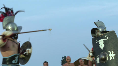 gladiator munus Hoplomachus Thraex 04 Stock Video Footage
