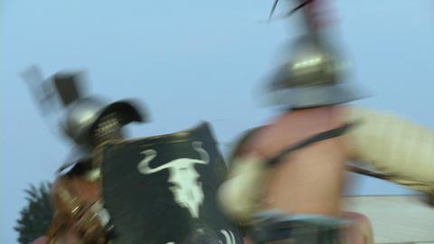 gladiator munus Hoplomachus Thraex 06 Stock Video Footage