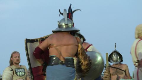 gladiator munus Hoplomachus Thraex 08 Stock Video Footage