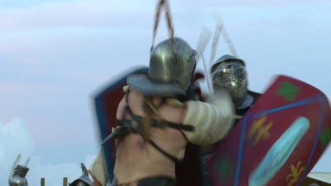 gladiator munus Secutor Secutor 04 Stock Video Footage