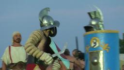 gladiator munus Thraex Murmillo 01 Stock Video Footage