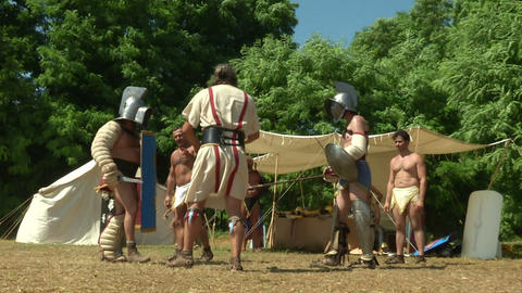 gladiator training Hoplomachus Thraex 02 Stock Video Footage