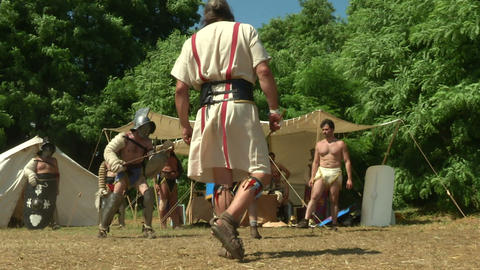 gladiator training Hoplomachus Thraex 02 Stock Video Footage