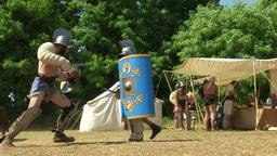 gladiator training Hoplomachus Thraex 04 Stock Video Footage