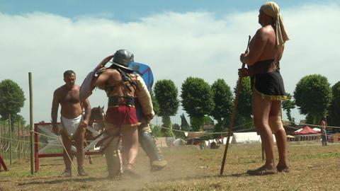 gladiator training Secutor Secutor 01 Stock Video Footage