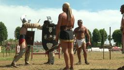 gladiator training Thraex Murmillo 01 Stock Video Footage
