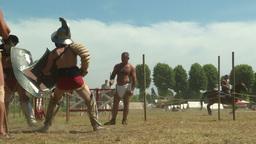 gladiator training Thraex Murmillo 03 Stock Video Footage