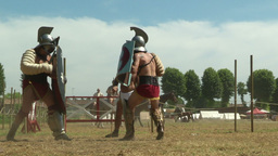 gladiator training Thraex Murmillo 03 Stock Video Footage