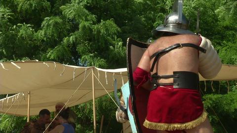 gladiator training Thraex Murmillo 05 Stock Video Footage