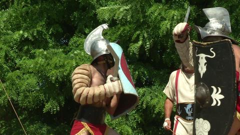 gladiator training Thraex Murmillo 07 Stock Video Footage