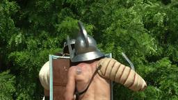 gladiator training Thraex Murmillo 09 Stock Video Footage