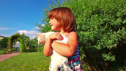 Little girl play with cat in green garden Stock Video Footage