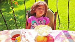 Little Girl Eating Cottage Cheese stock footage
