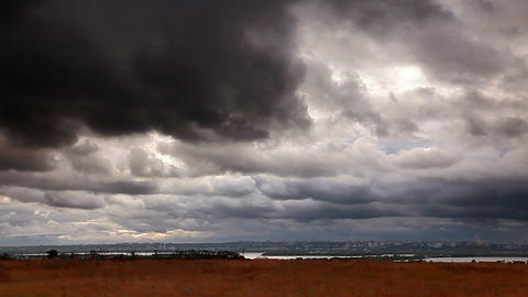storm clouds over the city Stock Video Footage