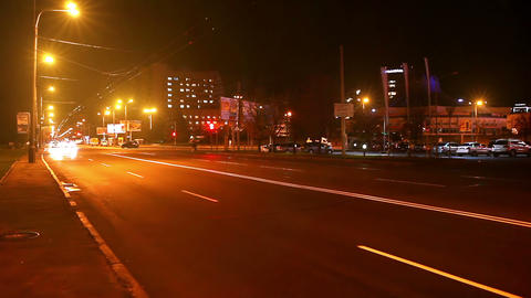 timelapse traffic of the city at night Stock Video Footage