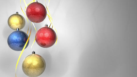 Christmas Multicolor Balls With Bows Isolated On W stock footage