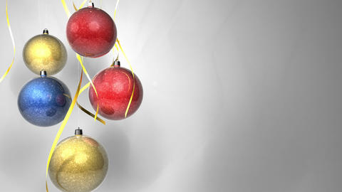 Christmas multicolor balls with bows isolated on w Stock Video Footage