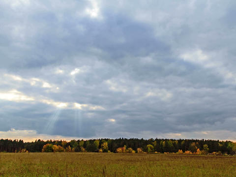 Rays of sun on a background autumn landscape. Time Stock Video Footage