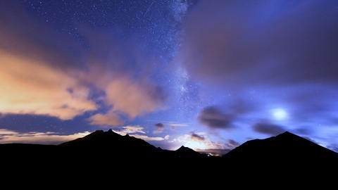 milky way clouds traffic in mountain time lapse pa Stock Video Footage