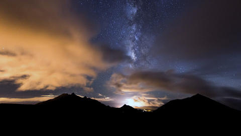 Milky Way Clouds Traffic In Mountain Time Lapse Pa stock footage