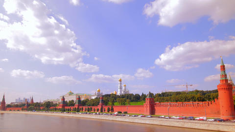 Moscow kremlin embankment time lapse Stock Video Footage