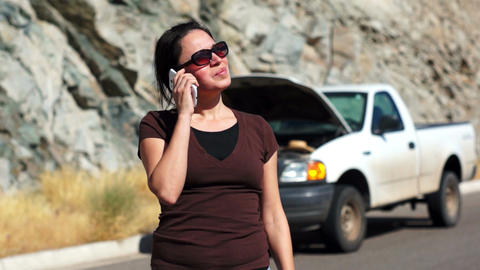 Stranded Woman Cellular Call Stock Video Footage