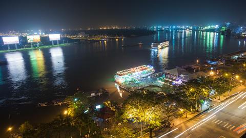 4k - SAIGON RIVER AT NIGHT - HO CHI MINH CITY - Stock Video Footage