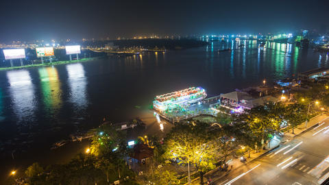 4k - SAIGON RIVER AT NIGHT - HO CHI MINH CITY - Footage