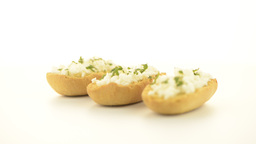Crispbread with fromage Stock Video Footage