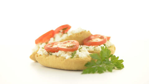Crispbread with fromage Footage