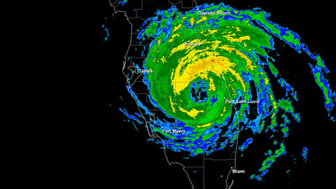 Hurricane Jeanne (2004) Landfall Time Lapse stock footage