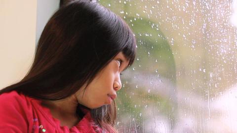 Sad Little Girl On A Rainy Day Stock Video Footage