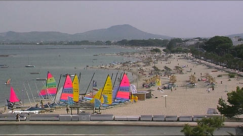 Windsurfer on the beach Stock Video Footage