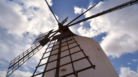 4k UHD low angle windmill and clouds time la 11214 Stock Video Footage
