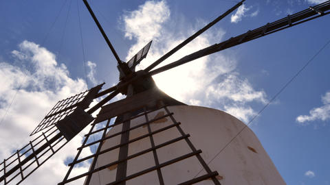 4k UHD Low Angle Windmill And Clouds Time La 11214 stock footage