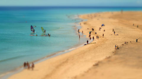 Human Ants Beach Walk Tilt Shift Pan 11218 stock footage
