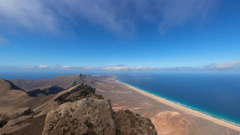 time lapse panorama pan view fuerteventura 11220 Stock Video Footage