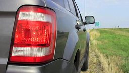 Vehicle With Hazard Lights On stock footage